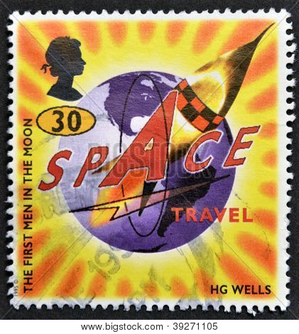 UNITED KINGDOM - CIRCA 1995: A stamp printed in Great Britain shows Illustration for the first men i