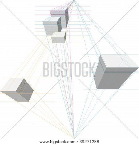 Vector Gift Boxes In Two-point Perspective