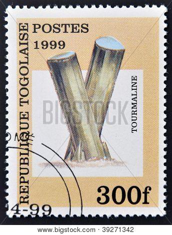Republik Togo ca. 1999: eine Briefmarke gedruckt in Togo zeigt Turmalin ca. 1999