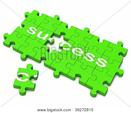 Success Puzzle Shows Attainment Of Wealth