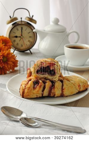 Mini Cherry Strudel With A Cup Of Coffee