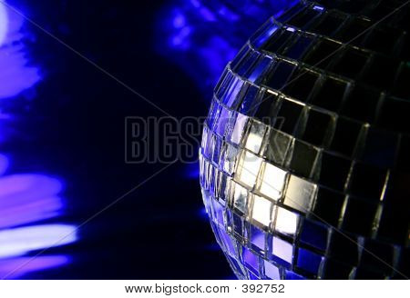 Mirror Disco Globe - Isolated On Blue