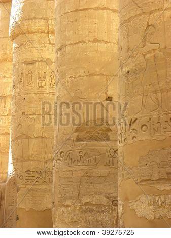 4 Columns in Egypt's Karnak temple Luxor