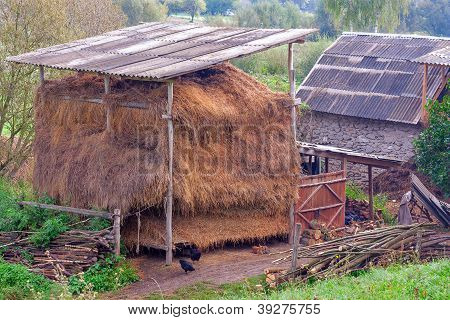 Countrified Backyard With Hay