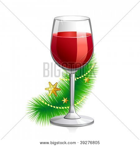 Vector illustration of red vine glass with Christmas attributes. Isolated on white background.