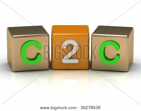 C2C Client To Client Symbol On Gold And Orange Cubes