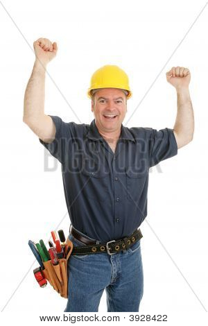 Construction Worker Ecstatic