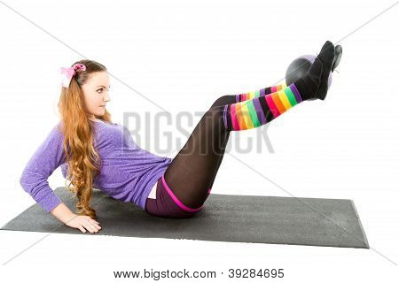 Fitness Woman Make Stretch On Yoga Pose On Isolated White Background