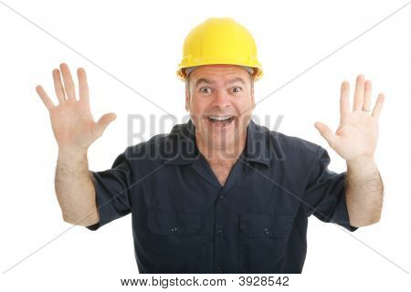 Construction Worker Excitement