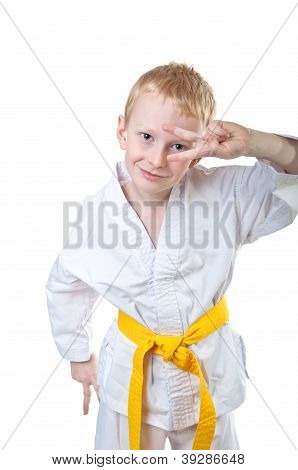 Smiling Boy Wearing Tae Kwon Do Uniform
