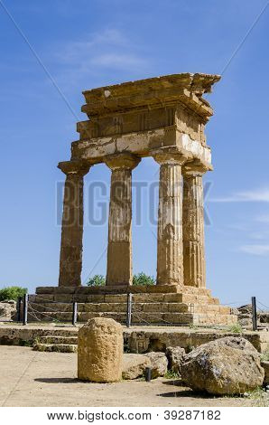 Temple Of Castor And Pollux In Agrigento, Italy