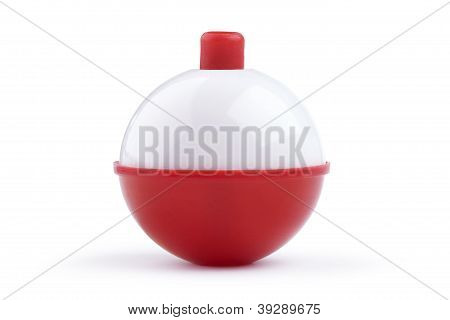 Red And White Fishing Bobber Isolated On White