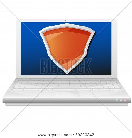 Security concept. Laptop computer and orange shield.