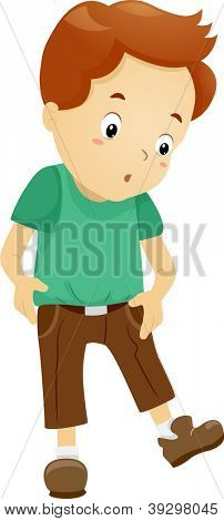 Illustration of a Boy Surprised to See His Pants Have Shrunk