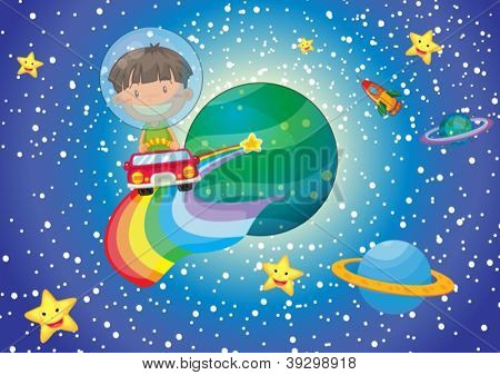 illustration of a boy and a car in the universe
