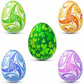stock photo of triskele  - Easter eggs icon set decorated in celtic style - JPG