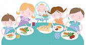 image of meals wheels  - Happy Family sharing a family dinner together - JPG