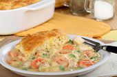 picture of biscuits gravy  - Meal of chicken pot pie with peas and carrots - JPG
