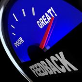 The word Feedback on a fuel gauge to solicit opinions, reviews, comments, questions and viewpoints f