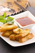 picture of lumpia  - spring rolls with sauce - JPG