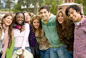 foto of young adult  - happy group of young people at a university college - JPG