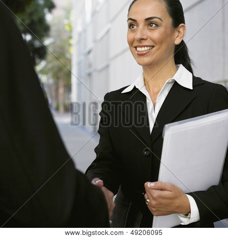 Businesswoman shaking hands with co-worker