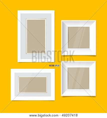 Picture frames, photo art gallery on yellow wall. Vector EPS10