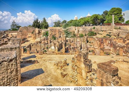 ancient ruins in district of Punic Byrsa, Carthage, Tunisia