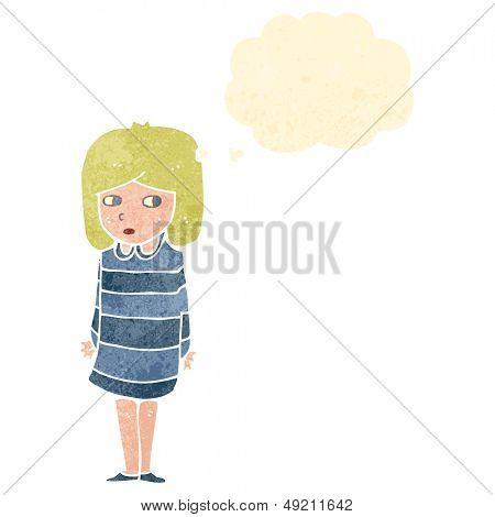 retro cartoon suspicious girl thinking