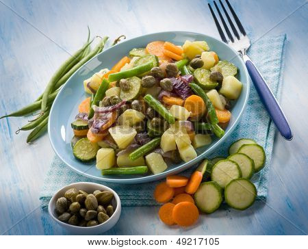 steamed mixed vegetables with capers