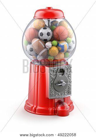 Gumball machine with sport balls