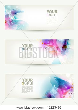 set of three banners, abstract headers with blue and pink blots