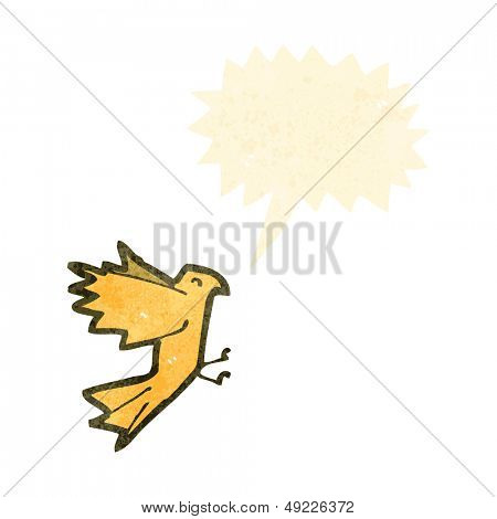 retro cartoon screeching bird