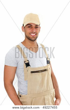 Handsome Man In Cap And Dungarees