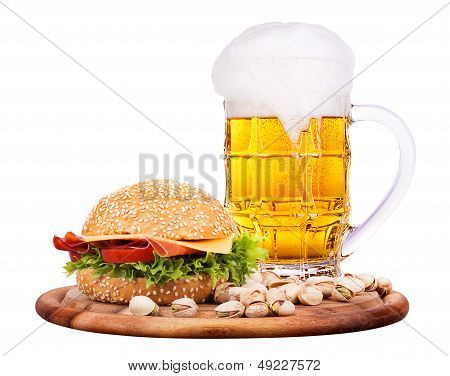 Closeup of homemade burger and beer