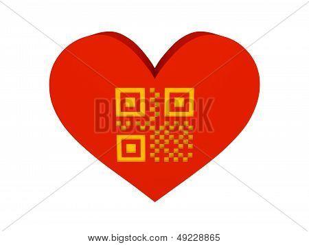 Big red heart with QR code symbol. Concept 3D illustration.