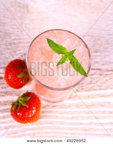 Strawberry Slush In Glass With Fruits And Mint, Soft Focus
