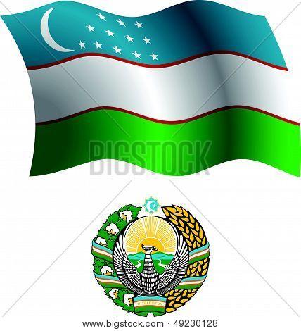 Uzbekistan Wavy Flag And Coat