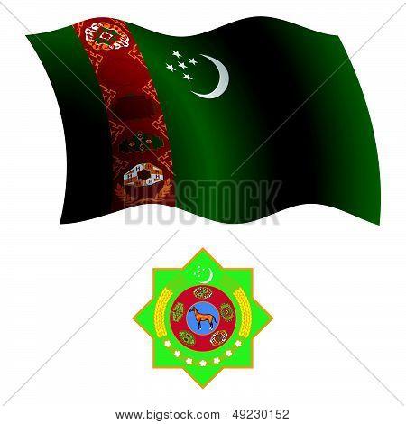 Turkmenistan Wavy Flag And Coat