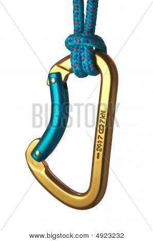 Blue And Gold Karabiner Hanging From A Blue Rope