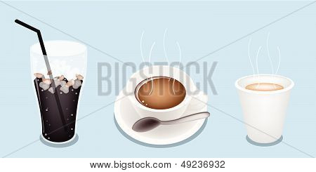Hot Coffee And Iced Coffee On Blue Background