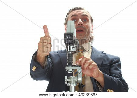 Formal Man With Old Film Camera