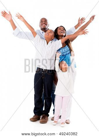 Happy family with arms open - isolated over a white background