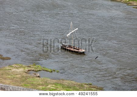 Boats on the Loire River. Amboise Touraine France