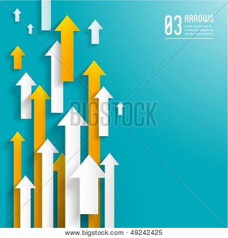 paper arrows on blue background - creative business template - graphic design