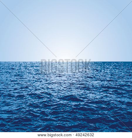 vector blue background with sunset over the ocean