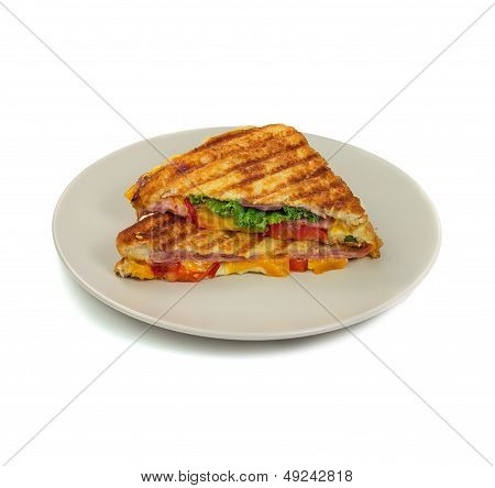 Grilled Panini Sandwiches On Plate. Isolated.