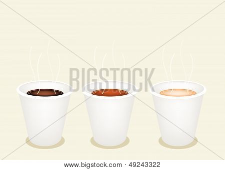 Three Kind Of Coffee In Disposable Cup
