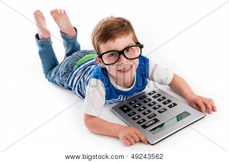 Geeky Boy Smiling With Big Claculator.