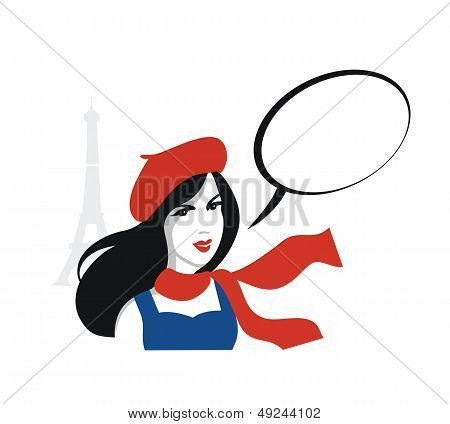 French girl  guide portrait with speech bubble- vector